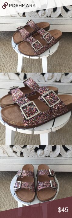 HP Steve Madden Sparkle Birkenstocks Steve Madden Multi-Colored Sparkle Birkenstocks. Madden Girl brand. Perfect for a casual summer look. Cute & comfy! BRAND NEW, NEVER WORN.  Madden Girl Shoes Sandals