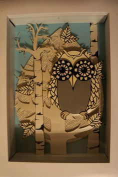 I'm obsessed with owls and birch trees:) Birch Trees, Winter Art, Shadow Box, Art Lessons, Owls, Artsy, Printing, Wall Decor, Snow