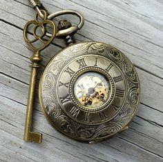 Alice in Wonderland Steampunk pocket watch key pendant charm necklace locket