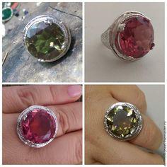 Купить Серебряный перстень с круглым султанитом. - разноцветный, султанит, перстень с султанитом, султанит в серебре