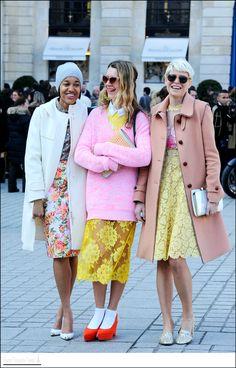 like a bunch of flowers. #TamuMcPherson #NatalieJoos & #ElisaNalin in Paris. @Easy Fashion