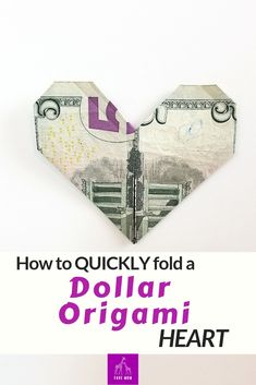 Fast Dollar Bill Origami Heart .  Follow this easy step by step video tutorial to fold an easy cash gift for someone.  Lays flat for a mailing for Valentine's Day.  #origami #moneyorigami #ValentinesDay