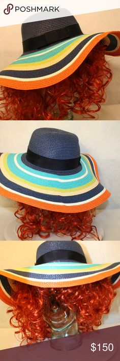 Kate Spade NY Floppy Sunhat Hello Awesome Sun Lovin' Human! We at ReNew 2 You love being out in the sun, too, so we want you to be protected while decked out in your favorite hat! For sale is this packable Navy Blue Bow, Orange, Aqua, Green & white Kate Spade Floppy Sun Hat Kate Spade NY Other