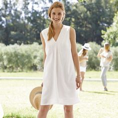 Laundered Linen Dress - White from The White Company
