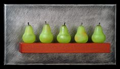 Art Glass, 'Five Small Green Pears Still-Life', wall sculpture composed of hand blown glass pears, stainless steel and mahogany. www.jenviolette.com Mixed Media Sculpture, Soft Layers, Historical Art, Glass Wall Art, Garden S, Wall Sculptures, Hand Blown Glass, Three Dimensional, Harvest