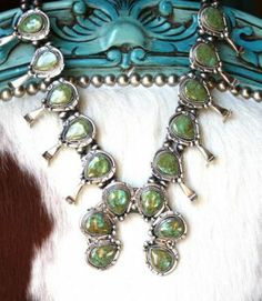 Brands :: NATIVE AMERICAN JEWELRY :: HEIRLOOM GREEN TURQUOISE SQUASH BLOSSOM NECKLACE AND EARRING SET - Native American Jewelry Ladies Weste...