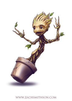 An adorable baby Groot for your dashboard by Zach Smithson.