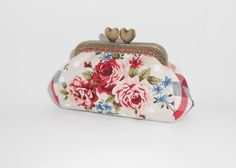 Rose bouquet red blue beige gingham coin/change pouch/purse/wallet w metal frame