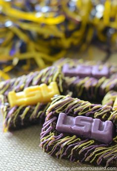 LSU Brownies using a Jell-O Jigglers Mold via Kitchen Spirit by Aimee Broussard. #shop #teamjello