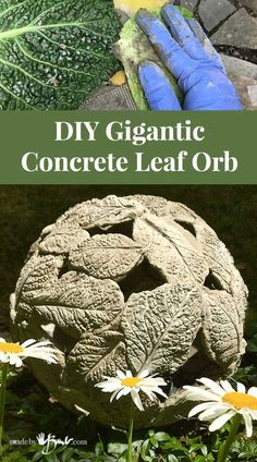 Make a unique textural garden ornament that is lightweight and has great lighting possibilities. Easy project using fastset concrete. garden projects DIY Gigantic Concrete Leaf Orb - Made By Barb - lightweight Garden Sphere