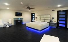 lighted bed   ... celebrity beautiful best house master bedroom suite neon light bed