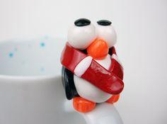 Penguin Mug 3D Hand Painted Christmas Mug Cute by doodleNart