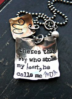 Mother and Son Personalized Necklace - Mothers Personalized Jewelry - Son Hand Stamped Necklace - Theres this boy who stole my heart