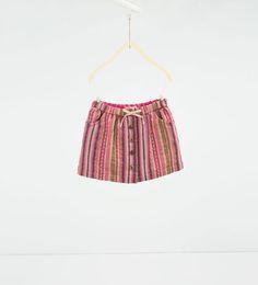 Image 1 of Shiny jacquard skirt from Zara Zara Kids, Short Fille, Short Niña, Zara United States, Rock, Summer Kids, Girls 4, Boho Shorts, Shirt Style