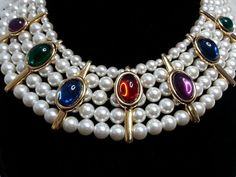 Napier #Byzantium Collection 1990 Faux Pearl Jewel Cabochon Collar Runway Couture