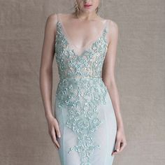 #PaoloSebastian seafoam fishtail wedding gown with cloudy opal and iridescent embellishment // The Call of the Sea: Paolo Sebastian's Spring/Summer 2014-15 Collection
