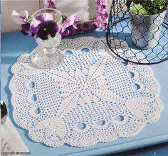 Ideas para el hogar: Mantel redondo y servilletas tejidas en crochet