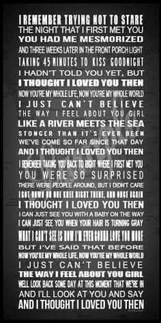 Country Love Song Lyrics - Custom Printable Poster - I Thought I Loved You Then. $25.00, via Etsy.
