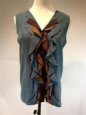M by Missoni Green Blue Blouse w/ Black & Brown Ruffle Size 6