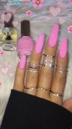 Bright Pink Nails, Hot Pink Nails, Pink Acrylic Nails, Barbie Pink Nails, Pink Acrylics, Gorgeous Nails, Pretty Nails, Acryl Nails, Aycrlic Nails
