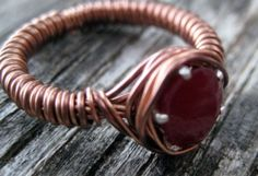 Hand-Formed Copper Ring, with a Precious Ruby Gemstone Set in Sterling Silver