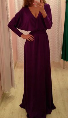 Sexy Women Gorgeous V Neck Velvet Party Evening Cocktail Long Sleeve Maxi Dress #Unbranded #Ballgown #Casual