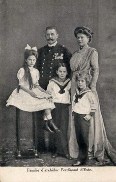 Archduke Franz Ferdinand and Sophie, Duchess of Hohenberg with their three children: Sophie, Maximilian, and Ernst.