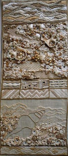 pin tangle,good site for embroidery, this piece is part of an ongoing sampler, the shells,beads and colors are so beautifully sewn and well designed