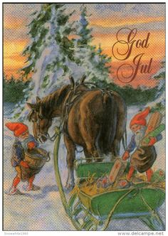 God Jul... Merry Christmas postcard.
