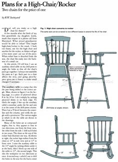 #443 Rocker and High Chair Plans - Children's Furniture Plans