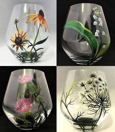 Wine Bottle Crafts – Make the Best Use of Your Wine Bottles – Drinks Paradise Wine Bottle Art, Painted Wine Bottles, Hand Painted Wine Glasses, Diy Wine Glasses, Stemless Wine Glasses, Wine Glass Crafts, Wine Bottle Crafts, Glass Painting Designs, Bottle Painting