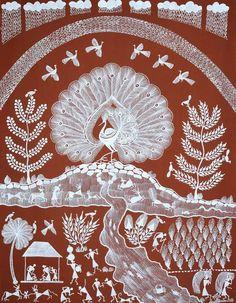 Warli art Worli Painting, Peacock Painting, Indian Art Paintings, Amazing Paintings, Traditional Paintings, Traditional Art, Peacock Coloring Pages, Indian Folk Art, Madhubani Painting