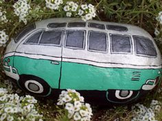 Pearl White and Mint Green VW Volkswagen Bus Painted River Rock- make this in memory of parents.