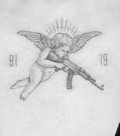 Gangsta Tattoos, Chicano Tattoos, Dope Tattoos, Body Art Tattoos, Small Tattoos, Tattoos For Guys, Tatoos, Cupid Tattoo, Cherub Tattoo