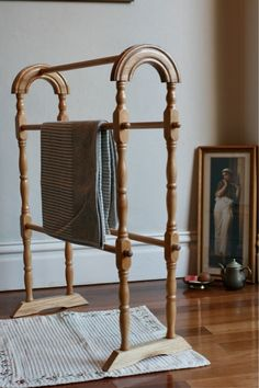 Beautiful Wooden Towel Rail Rack, Vintage Classic Timber Stand, Can be Posted