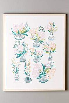 FLOWERS FOR MEGAN - 24x30 SILK SCREEN PRINT | Lulie Wallace