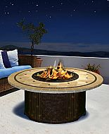 """48"""" Tradewinds Chat Height Laguna Mosaic Tile Top Granite Fire Pit"""