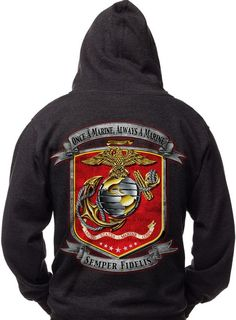 Once a Marine Hoodie Unisex Men's and Women's Adult Hoodie Pre-shrunk Cotton 8 oz hoodie Machine Washable cotton poly DTM Drawcord Proudly Printed in the U.