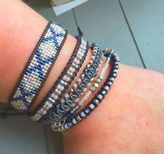 Tribal Loom Woven Beaded Friendship Bracelet in Navy and Blush