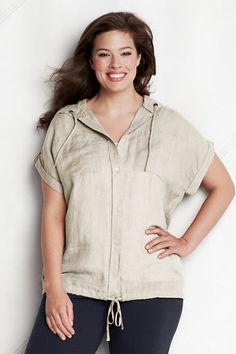 d53dd4e55e Women s Plus Size Short Sleeve Linen Hooded Shirt from Lands  End