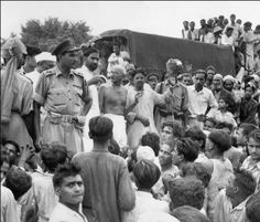 Mahatma Gandhi visits Muslim refugees at Purana Qila in New Delhi, as they prepare to depart to Pakistan in September 1947. The previous month, India was given its independence from Britain and the state of Pakistan was formed.  Source - AFP/Getty