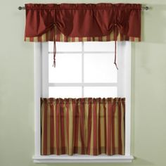 Versa-Tie® Lisa Stripe Window Curtain Tiers and Valance - BedBathandBeyond.com 20-30.