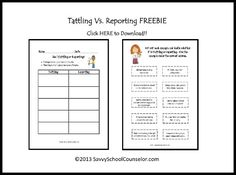 Tattling Vs. Reporting Freebie   Savvy School Counselor
