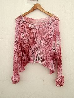 Hand knitted and hand tye-dyed sweater. by armarioenruinas on Etsy