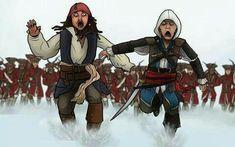 Captain Jack Sparrow and Captain Edward Kenway bahahahahahaha! This is AWESOME! Assassins Creed Memes, Assassins Creed Black Flag, Anime Meme, Assasing Creed, Assassin's Creed Black, Assassin's Creed Wallpaper, Edwards Kenway, Templer, Captain Jack Sparrow