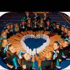#team cheerleading love heart (i'd put their pom poms in the heart)