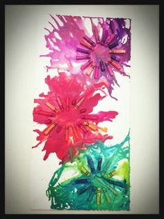 How to Make Crayon Art. Crayon art flowers! DIY! All u need is a canvas/hair blow dryer/ and crayons!