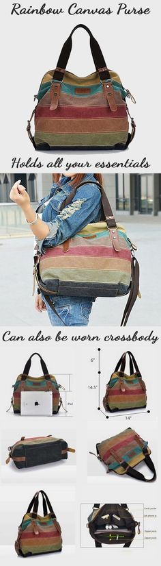 Our Rainbow Natural Canvas Handbag will suit your unique personality. Its one-of-a-kind exquisite workmanship provides the best durability, style and elegance to your everyday look. With its substantial size and strong design that allows you the comfort and ease of storing your everyday essentials securely, the Rainbow Bag is constructed with the busy modern women in mind.