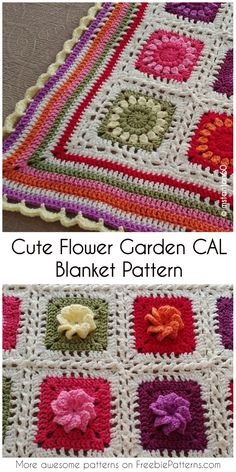 Cute Flower Garden CAL Blanket Pattern [Free Crochet Pattern] #crochet #crochetCAL #freecrochetpattern #flowers #homedecorideas