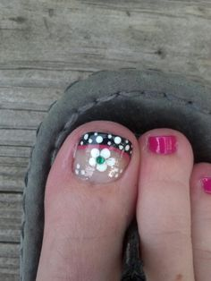 Black with white polka dots with pink accents